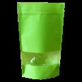 Пакет дой пак зеленый с прозрачным окошком 40 мм с zip-lock