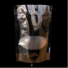 Пакет дой пак черный с овальным окошком с замком zip-lock