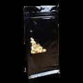 Пакет восьмишовный черный с треугольным окошком по центру