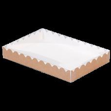 Коробки крафт с волнистым краем и прозрачной пластиковой крышкой