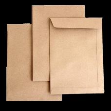 Крафт конверты - пакеты с прямым клапаном по короткой стороне
