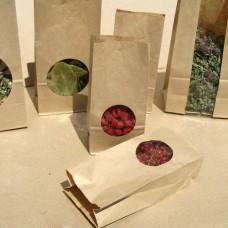 Крафт пакеты с окном (прямоугольное дно)