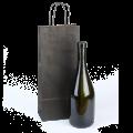 Черный бумажный пакет под бутылку с ручками