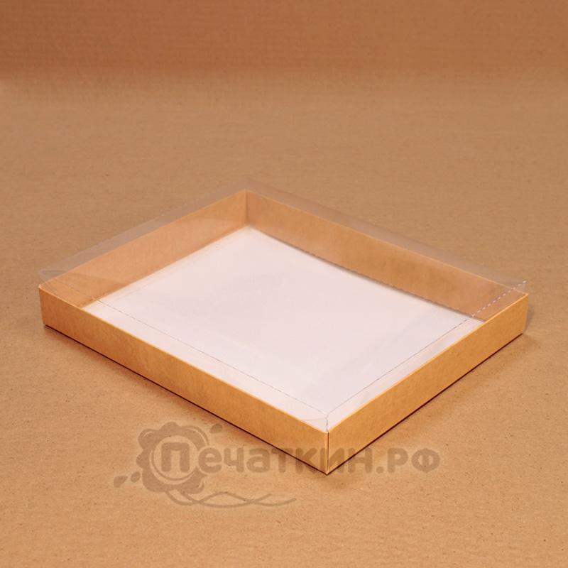 Коробочка с прозрачной крышечкой крафт
