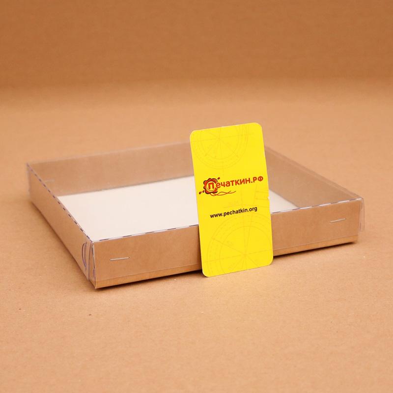 Крафт коробочка с пластиковой крышкой