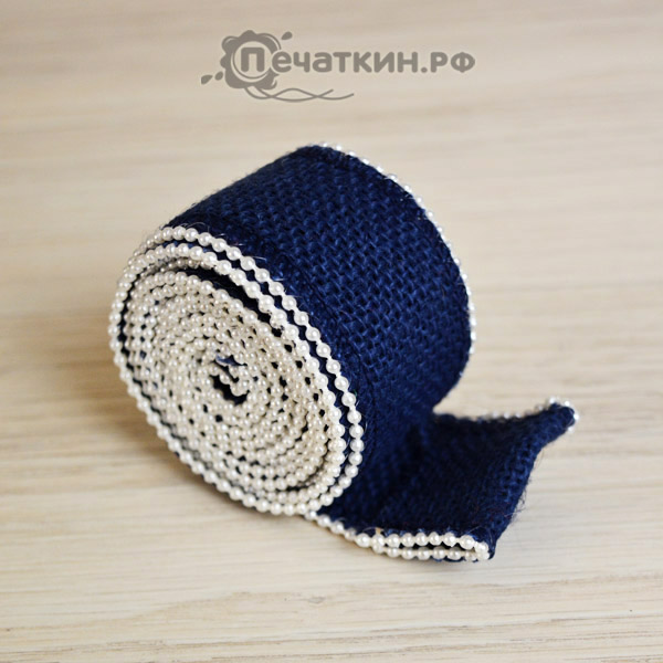 Холщовая лента синего цвета