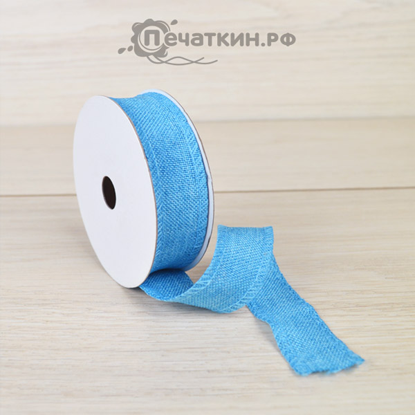 Лента из ткани голубая