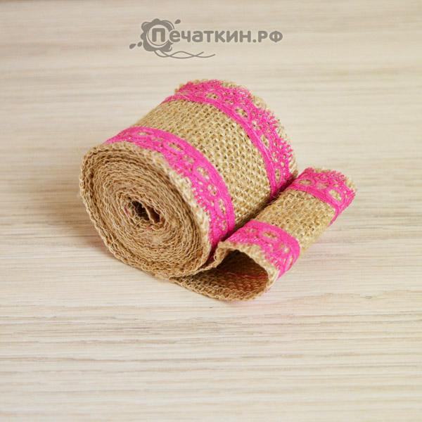 Розовая кружевная лента