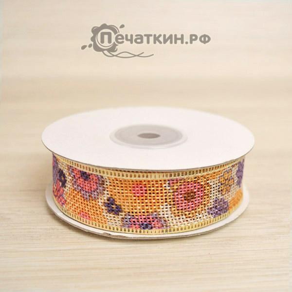 Лента цветная с цветами