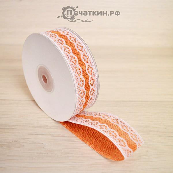 Лента оранжевая с узором